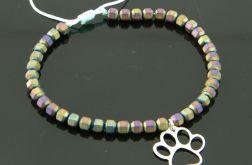 Psia łapa regulowana bransoletka z hematytu