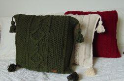Ciemno zielona poduszka w warkocze 45 x 45 cm
