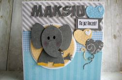 Kartka na Roczek ze słonikiem