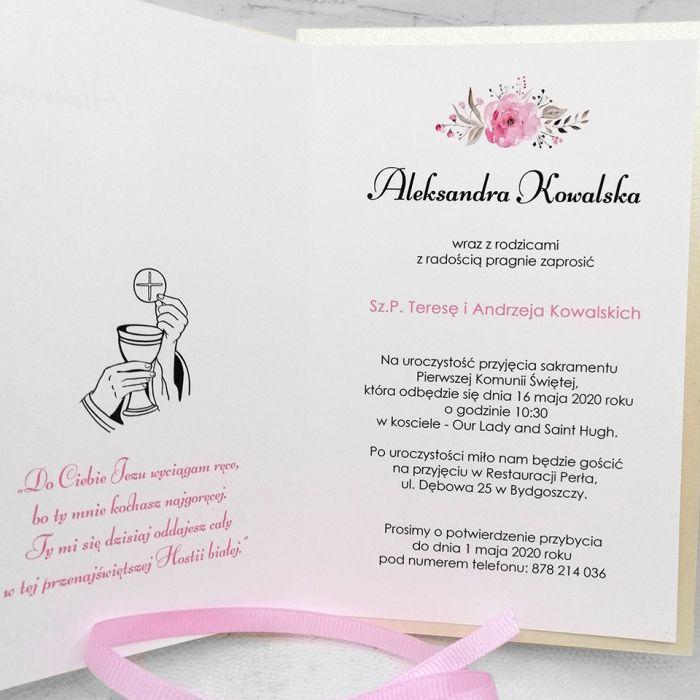 Zaproszenie na komunię dla dziewczynki serce z różową wstążką ZKS 013  - Zaproszenie na komunię dla dziewczynki serce z różową wstążką (4)