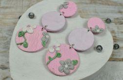Wiosenne kolczyki koła - szaro różowe