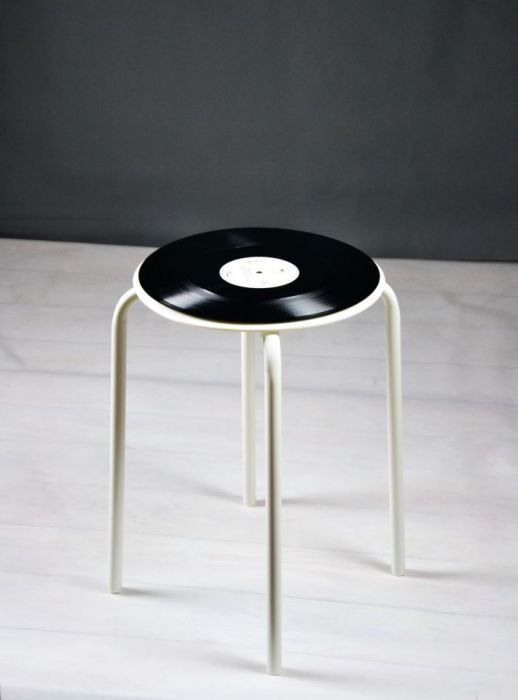 Oryginalny taboret płyta winylow winyl stołek