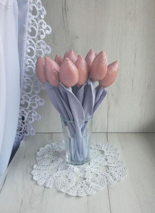 Tulipany glamour błyszczące róż na prezent -