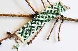 Bransoletka zielono-biała BOHO ETNO PREZENT