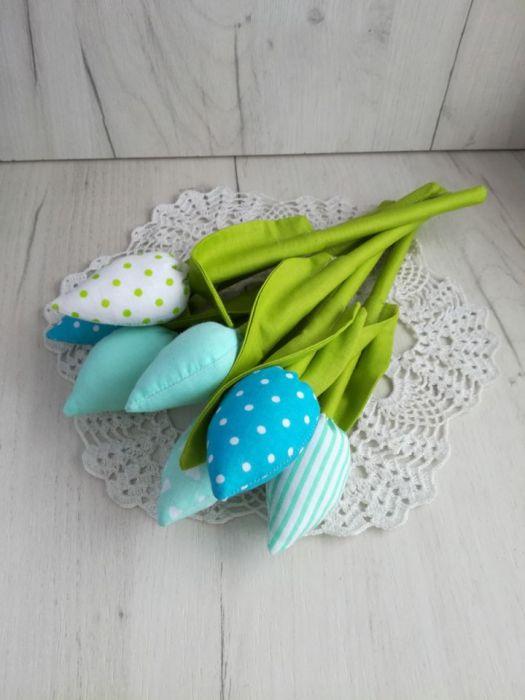 Tulipany z bawełny bukiet miętowy Dzień Mamy