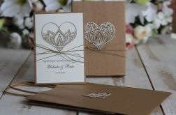 Oryginalna kartka rustykalna na ślub zestaw 2