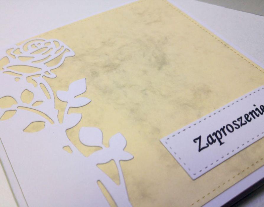 Zaproszenie z różą nr 4 - biała róża