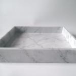 Taca z marmuru Bianco Carrara Venato 25 x 25 x 1 cm - null