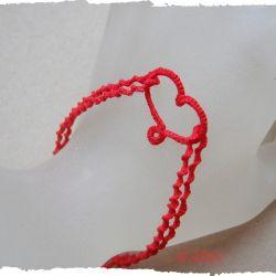 frywolitkowa bransoletka z sercem