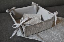 Bawełniany koszyk na pieczywo - szare listki