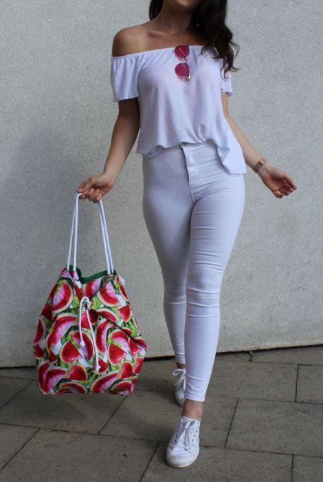 duża torba damska w arbuzy - torba w arbuzy
