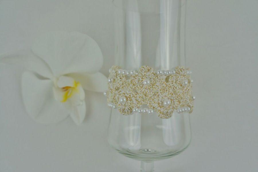 Bransoletka szydełkowa biało-złota  4 - Bransoletka ręcznie robiona