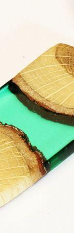 Wisior żywica i drewno prostokąt zielony