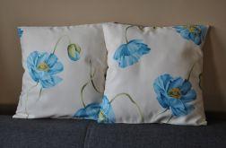 Poszewka dekoracyjna - błękitne maki
