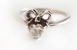 126 pierścionek vintage, pierścionek z cyrkonią; efektowny