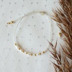 Bransoletka z perłami i kwarcem