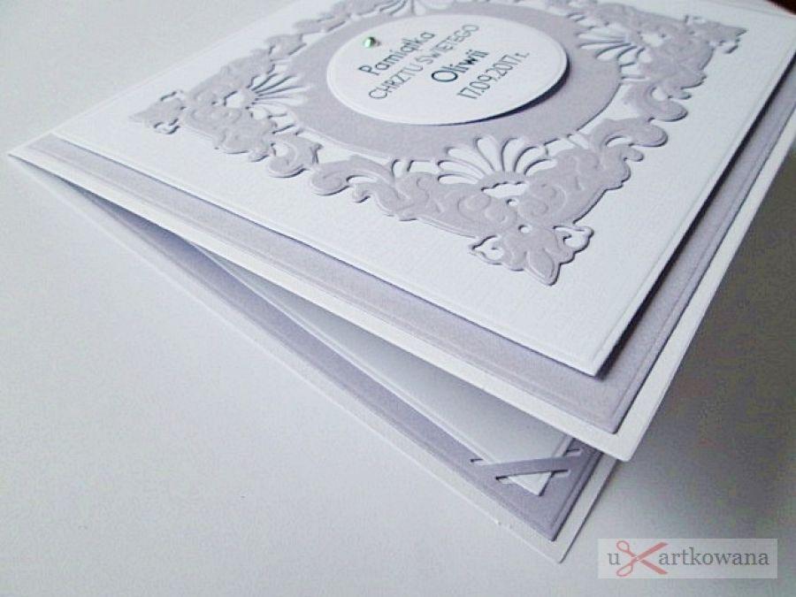 Kartka PAMIĄTKA CHRZTU biało-fioletowa #1 /Z - Biało-fioletowa kartka na Chrzest w ozdobionej kopercie