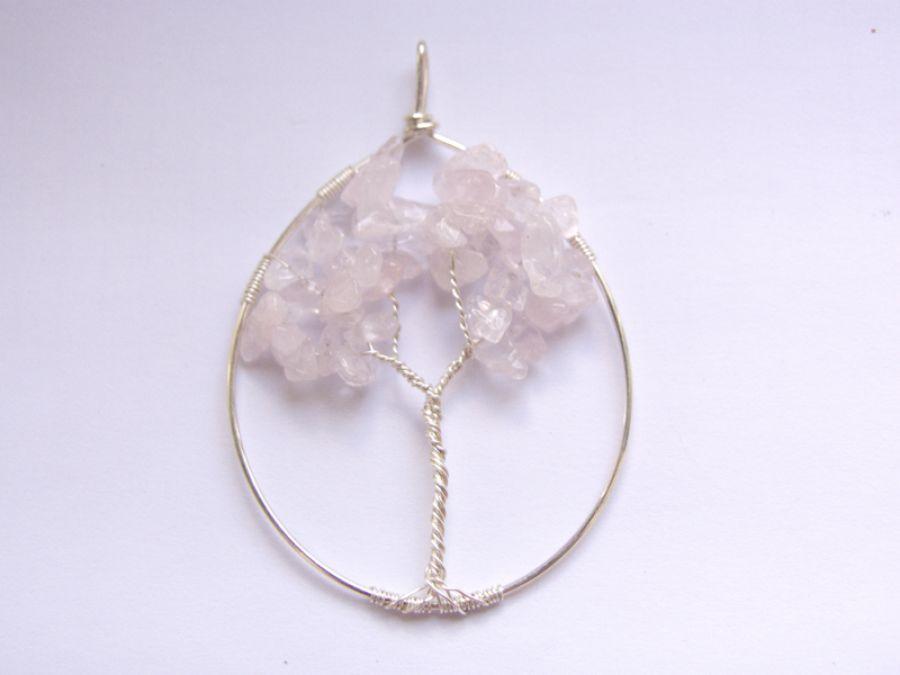 Zawieszka Drzewo życia, srebro i różowy kwarc