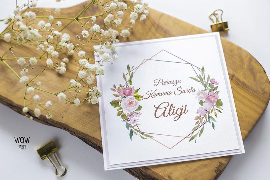 Oryginalne zaproszenie na I Komunię kwiaty