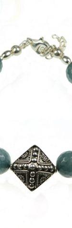 Srebro Jadeit  bransoletka