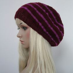 Duża czapka w stylu boho - fiolet i róż