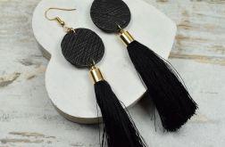 Długie, czarno złote kolczyki z chwostem