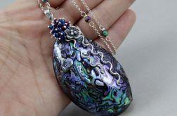 Paua abalone hematyt i srebro - naszyjnik