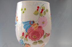 świecznik-lampion szklany z kwiatami i motylami