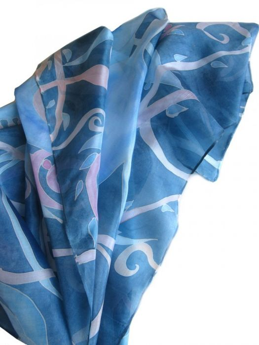 Komin jedwabny Roślinny Niebiesko-Różowy