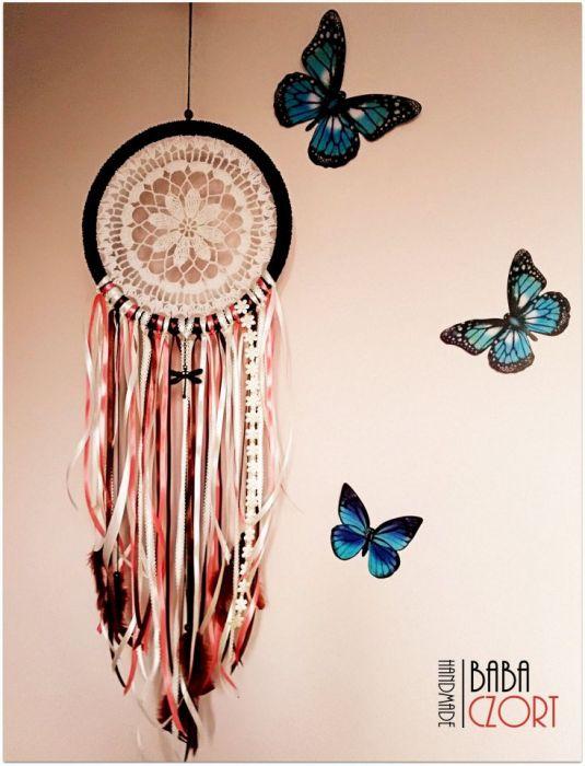 Łapacz snów. Ważka, kwiaty, pióra...