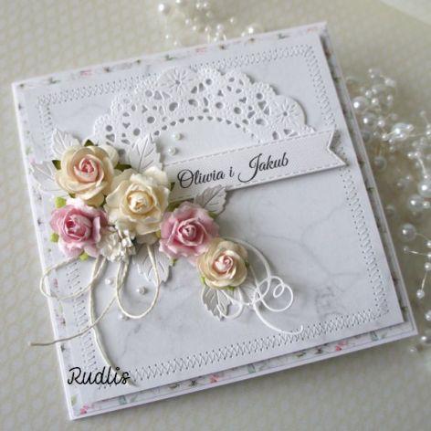Kartka ślubna w pudełku - szyty komplet v.4
