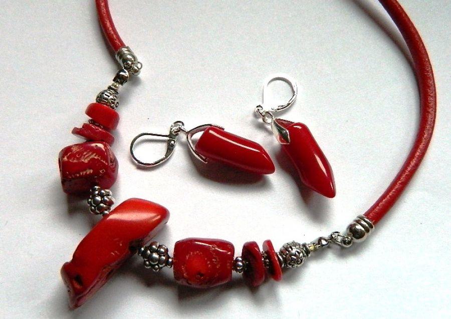 Koral czerwony, naturalny, unikatowa biżuteria