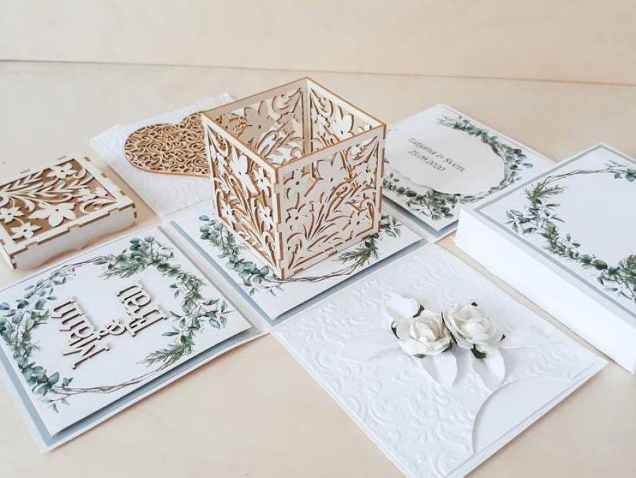 Kartki ślubne Exploding box ślubny #0005a - Kartka ślubna pudełko, kartka na ślub z personalizacją