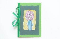 Kartka z kokardką i z kwiatkiem malow. nr 17