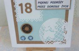 Kartka na 18 urodziny dla chłopca z globusem