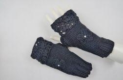 Mitenki ręcznie robione wełna czarne