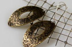 Owale piasek - mosiężne kolczyki