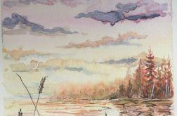 Obraz akwarela do salonu Zachód woda art