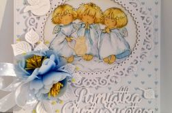 Kartka z aniołkami - chrzest