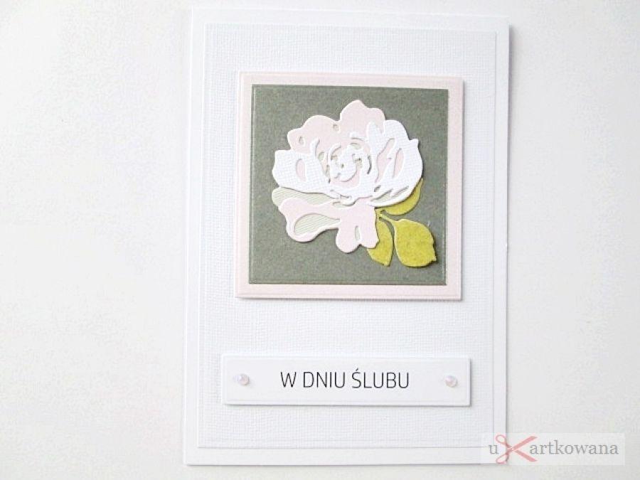 Kartka W DNIU ŚLUBU z pastelową różą - Szaro-różowa pamiątka ślubu
