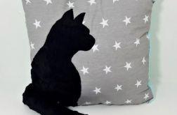 Poduszka z kotem i ogonem 3D czarny kot