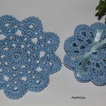 Małe serwetki - podkładki niebieskie - szydełkowe podkładki