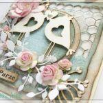 Romantyczna kartka na Ślub z ptaszkami