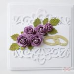 Kartka ŚLUBNA biało-fioletowa /Z - Kartka na ślub z fioletowymi różami
