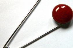 Broszka z agatem-agrafka, pomarańczowaa