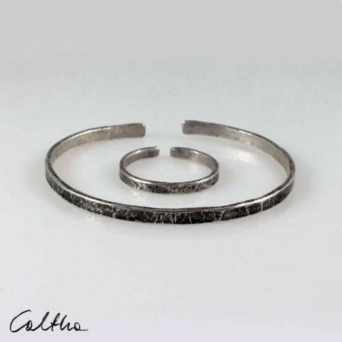 Srebrna bransoletka + obrączka 200131-04