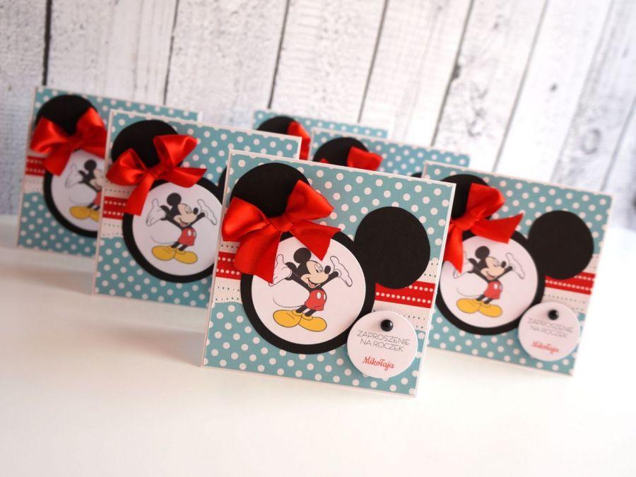 Zaproszenia na Roczek z Myszką Mickey