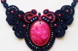 Granatowo-różowy naszyjnik sutasz z agatem