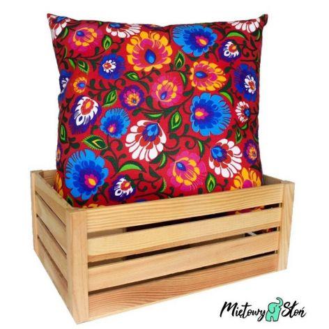 Ozdobna bawełniana poduszka ~ folk / czerwony