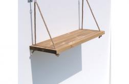 Półka pojedyncza na linach drewno salon
